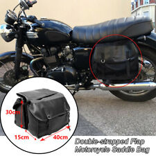 Double-strapped Flap Motorcycle Scooter Bikes Rear Tail Storage Bag Saddle Bags