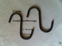 "2 Black Wrought Iron S Hooks 4"" Lg Primitive Country Industrial Crafts Kitchen"