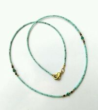 Afghan Turquoise Tiny Seed Beads Dainty Necklace with Malachite & Black Spinal
