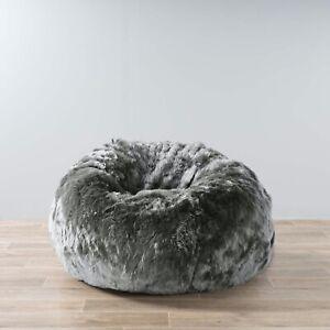 New Ivory & Deene Large Fur Beanbag Cover Charcoal Grey Bean Bag Lounge Chair