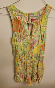 Lilly Pulitzer Women's Sleeveless Tie keyhole Neck Pockets Romper XS Yellow flor