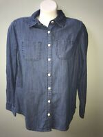 St Johns Bay Denim Chambray Blue Jean button Down L/S shirt petite small PS