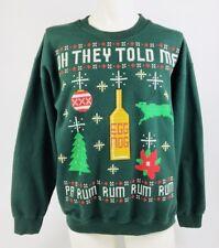Men's Crewneck Sweatshirt Ugly Christmas Xmas Rum Eggnog Large