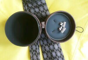 PROFUOMO Italian Designer Silk Tie PRISTINE + Cuff links and case. FREE UK POST