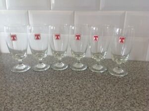 Six 1970's Tennents Beer Glasses 12oz.