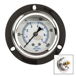 """2.5"""" Liquid Filled Pressure Gauge 0-100 PSI 1/4"""" NPT CBM Panel Flush Mount"""