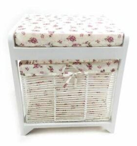 White Hallway Livingroom Bench Dressing Table Padded Stool Seat + Storage Basket