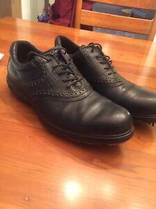 Ecco Golf Shoes Size 44 Black Saddle Style Spikes