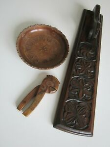 Norwegian Mangle board, bowl and nutcracker almue pattern - start 1900