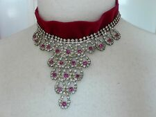Deep Pink Velvet Choker with Recycled diamante