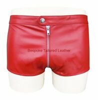 Men's Leather Shorts in Red  with  Zip  at Front and back Elasticated waist