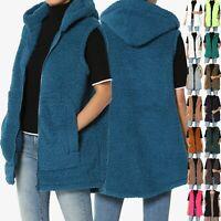 TheMogan S~3X Oversized Soft Teddy Sherpa Fleece Hooded Zip Front Vest Gilet