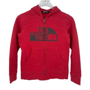 The North Face Youth Boys Red Logo Zip Up Hooded Sweatshirt Size Medium 10 / 12