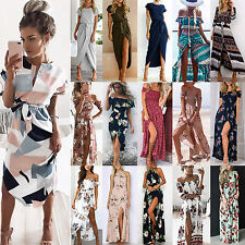Ladies Maxi Dress Holiday Off Shoulder Floral Summer Boho Beach Party Sundress