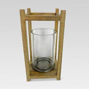 Threshold Metal Wood Glass Hurricane Candle Holder 12 x 6 x 6 * NEW NWT