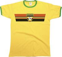 Mens Ringer T-Shirt UGANDA RETRO STRIP Football,Sports,Olympics