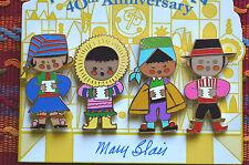 Disney It's A Small World 40th Anniversary Mary Blair 4 Pin Set #3 On Card ExHTF