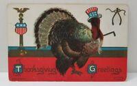American Patriotic Thanksgiving Turkey Postcard ca 1909 to Johnstown Pa