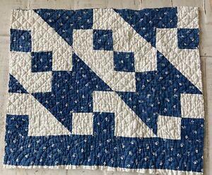 """Vintage Cutter Quilt Piece1900's(?)Blue White 18""""X21"""" Crafts Pillow Mat Stacker"""