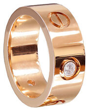18K Rose Gold Round Cut Diamond Band Ring Bezel Set Love Ring Style 0.25ctw 7mm