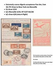 Fam 18 First Flight Cover Oran Algeria to NY via Marseille 1939 Pan Am Clipper