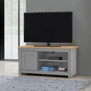 Small TV Unit Cabinet Stand Media 1 Door 2 Shelf 99cm Grey Oak