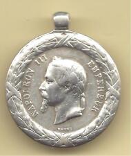 FRANCE  Médaille Argent pendentif  NAPOLEON III Empereur Campagne d' Italie 1859