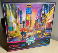 """City In Color 'Times Square Stroll' 750 Piece Jigsaw Puzzle 24""""x18"""" Buffalo USA"""