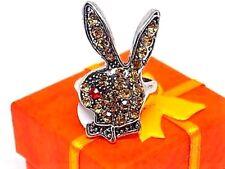 Women's Gold Rhinestone Playboy Bunny Tibetan Ring W/Gift Box!