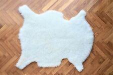 Ivory White Sheepskin Rug, Single Pelt Genuine Natural Sheepskin Rug, 22 x 30 in