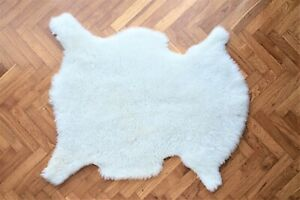 Ivory White Sheepskin Rug, Single Pelt Genuine Natural Sheepskin Rug,  2x3 ft