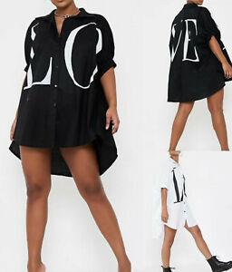 Womens Ladies Lagenlook Oversized Short Sleeve Slogan Shirt Party Blouse Tops