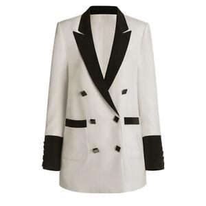 2021 Women's Designer Inspired Loose Fit White Long Blazer Coat