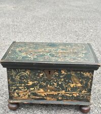 Antique 1763 Painted Document Box. Pennsylvania Or Swedish. Original Paint