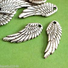 Lead Free 10pcs Antique Silver Angel Wing Pendants A19214-AS-LF