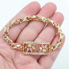 18K Gold Filled Women Mystical Topaz Gems Square Multi-Color Flower Bracelet