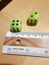 Pair of Two Swirly Lime Green Dice Black Pips Square 16mm Backgammon Game