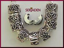 10  Antique Rose Lock Clip Stopper fits European Charm Bracelet Necklace L09