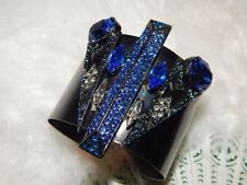 Anthropologie Aldazabal Blue Pantages Cuff Swarovski Crystal Bracelet -$328 MSRP