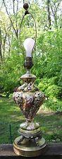 Vintage Italian Capodimonte Porcelain Brass Dolphin Base Table Lamp