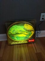 Budweiser Beer Lighted Fish Sign 3d Bubble Vintage Bar Advertisment