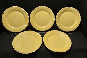 Il Mulino New York Rustic Crackle Yellow MELAMINE Dinner Plates Set of 5