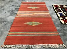 New listing Authentic Hand Knotted Vintage American Wool Kilim Kilm Area Rug 5 x 2 Ft