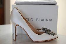 MANOLO BLAHNIK Hangisi 105 White Embellished Satin Pump Heel Shoes 11 US / 41 EU