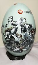 Home decoy China egg shape porcelain beautiful scene vase on wooden stand