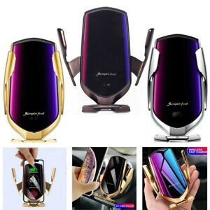 Wireless Car Charger 2 in 1 Fast Charging Mount Phone Holder For iPhone/Samsung