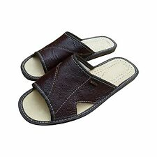 Mens Leather Slippers Beach House Scuffs Slip On Mules Dark Brown US Size 7-13