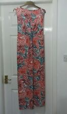 M&C Plus Maxi Dress UK 18  Full Length Sleeveless Pink Peach Floral 4% Elastane