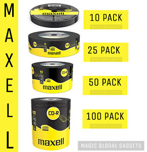 Maxell CD-R | Recordable Blank CD Discs Media 25/50/100 Pack | 80 Min 52x 700MB