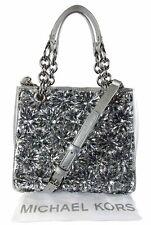 MICHAEL KORS FLORA BURST Saffiano Silver Leather Satchel Shoulder Bag Msrp $648